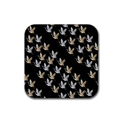 Goose Swan Gold White Black Fly Rubber Coaster (Square)