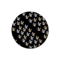 Goose Swan Gold White Black Fly Rubber Coaster (Round)