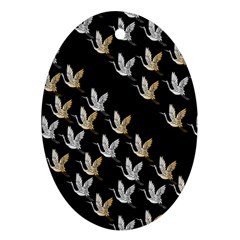 Goose Swan Gold White Black Fly Oval Ornament (Two Sides)