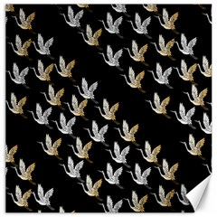 Goose Swan Gold White Black Fly Canvas 12  x 12