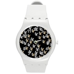 Goose Swan Gold White Black Fly Round Plastic Sport Watch (M)