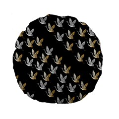 Goose Swan Gold White Black Fly Standard 15  Premium Flano Round Cushions
