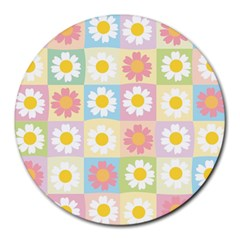 Season Flower Sunflower Blue Yellow Purple Pink Round Mousepads