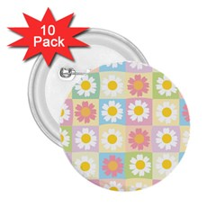 Season Flower Sunflower Blue Yellow Purple Pink 2.25  Buttons (10 pack)