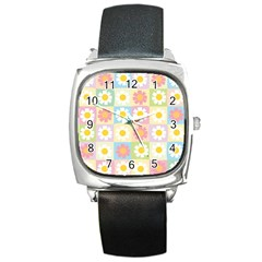 Season Flower Sunflower Blue Yellow Purple Pink Square Metal Watch