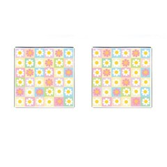 Season Flower Sunflower Blue Yellow Purple Pink Cufflinks (square)