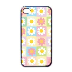 Season Flower Sunflower Blue Yellow Purple Pink Apple iPhone 4 Case (Black)