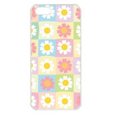 Season Flower Sunflower Blue Yellow Purple Pink Apple iPhone 5 Seamless Case (White)