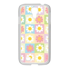 Season Flower Sunflower Blue Yellow Purple Pink Samsung Galaxy S4 I9500/ I9505 Case (white)