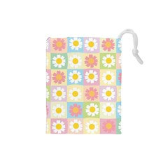 Season Flower Sunflower Blue Yellow Purple Pink Drawstring Pouches (Small)