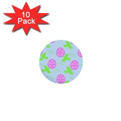 Spring Flower Tulip Floral Leaf Green Pink 1  Mini Buttons (10 Pack)