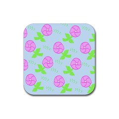 Spring Flower Tulip Floral Leaf Green Pink Rubber Coaster (Square)