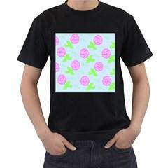 Spring Flower Tulip Floral Leaf Green Pink Men s T-Shirt (Black) (Two Sided)