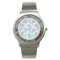 Spring Flower Tulip Floral Leaf Green Pink Stainless Steel Watch