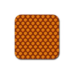 Pumpkin Face Mask Sinister Helloween Orange Rubber Coaster (square)