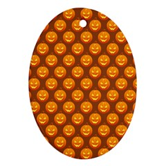 Pumpkin Face Mask Sinister Helloween Orange Oval Ornament (two Sides)