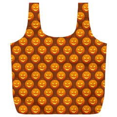 Pumpkin Face Mask Sinister Helloween Orange Full Print Recycle Bags (L)