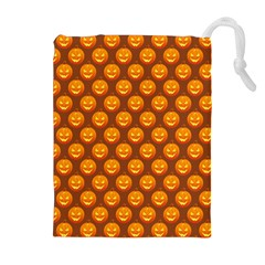 Pumpkin Face Mask Sinister Helloween Orange Drawstring Pouches (Extra Large)