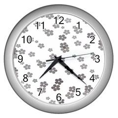 Flower Grey Jpeg Wall Clocks (silver)