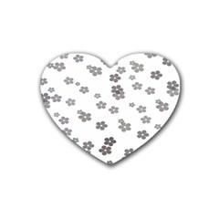 Flower Grey Jpeg Rubber Coaster (Heart)