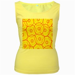 Lemons Orange Lime Circle Star Yellow Women s Yellow Tank Top