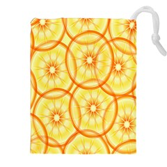 Lemons Orange Lime Circle Star Yellow Drawstring Pouches (XXL)