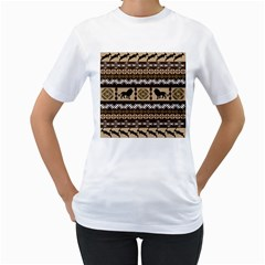 African Vector Patterns  Women s T Shirt (white) (two Sided)