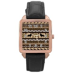 African Vector Patterns  Rose Gold Leather Watch