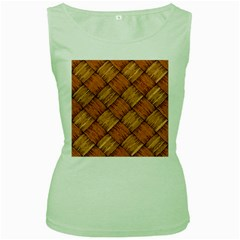 Vector Square Texture Pattern Women s Green Tank Top