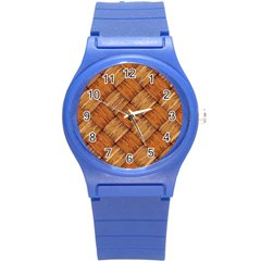 Vector Square Texture Pattern Round Plastic Sport Watch (S)