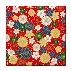 Season Flower Rose Sunflower Red Green Blue Tile Coasters