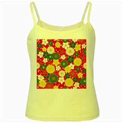 Season Flower Rose Sunflower Red Green Blue Yellow Spaghetti Tank