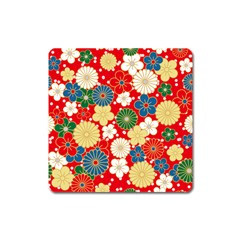 Season Flower Rose Sunflower Red Green Blue Square Magnet