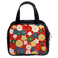 Season Flower Rose Sunflower Red Green Blue Classic Handbags (2 Sides)