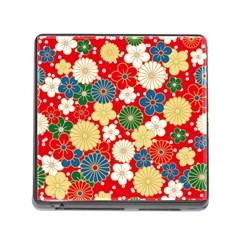 Season Flower Rose Sunflower Red Green Blue Memory Card Reader (Square)