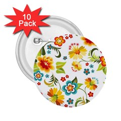 Flower Floral Rose Sunflower Leaf Color 2 25  Buttons (10 Pack)
