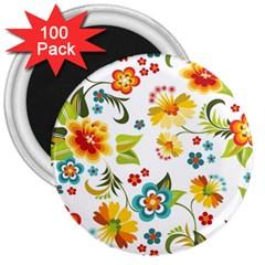 Flower Floral Rose Sunflower Leaf Color 3  Magnets (100 Pack)