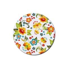 Flower Floral Rose Sunflower Leaf Color Rubber Coaster (round)