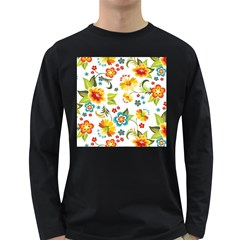 Flower Floral Rose Sunflower Leaf Color Long Sleeve Dark T Shirts