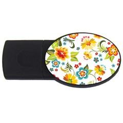 Flower Floral Rose Sunflower Leaf Color USB Flash Drive Oval (4 GB)