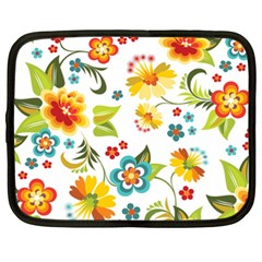 Flower Floral Rose Sunflower Leaf Color Netbook Case (XXL)