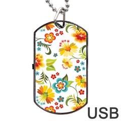 Flower Floral Rose Sunflower Leaf Color Dog Tag USB Flash (Two Sides)