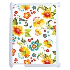 Flower Floral Rose Sunflower Leaf Color Apple iPad 2 Case (White)