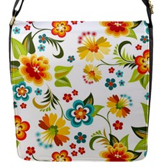 Flower Floral Rose Sunflower Leaf Color Flap Messenger Bag (s)