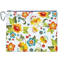 Flower Floral Rose Sunflower Leaf Color Canvas Cosmetic Bag (XXXL)