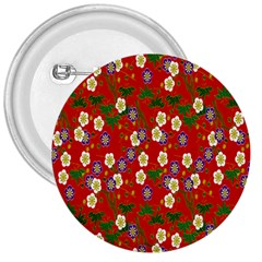Red Flower Floral Tree Leaf Red Purple Green Gold 3  Buttons