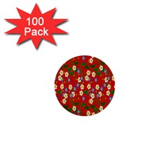 Red Flower Floral Tree Leaf Red Purple Green Gold 1  Mini Buttons (100 Pack)