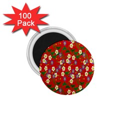 Red Flower Floral Tree Leaf Red Purple Green Gold 1 75  Magnets (100 Pack)