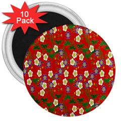 Red Flower Floral Tree Leaf Red Purple Green Gold 3  Magnets (10 Pack)