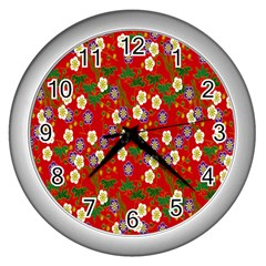 Red Flower Floral Tree Leaf Red Purple Green Gold Wall Clocks (silver)